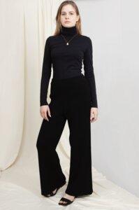 AURORA - Damen High-Waist Strickhose Vegan aus Bio-Baumwolle - SCHWARZ - Woman of Vegan