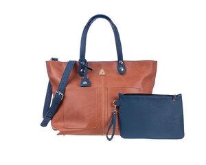 Damen Große Einkaufstasche LORY Leder 100% Made In Italy - Hellbraun - Ritagli di G