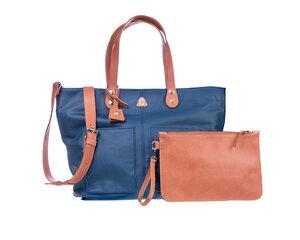 Damen Große Einkaufstasche LORY Leder 100% Made In Italy - Blau - Ritagli di G