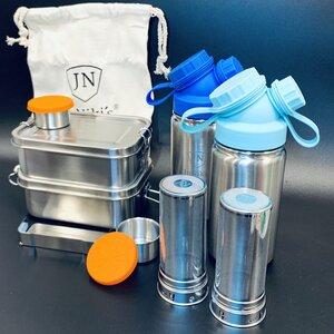 Einschulungs-Spar-Set aus Edelstahl: Je 2x JuNiki´s® Lunchbox + Trinkflasche isoliert + Teefilter - JN JuNiki's