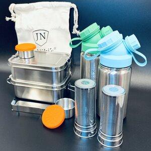 Aus Edelstahl: Großes Einschulungs-Spar-Set mit je 2x JuNiki´s® Lunchbox + Trinkflasche isoliert + Teefilter - JN JuNiki's