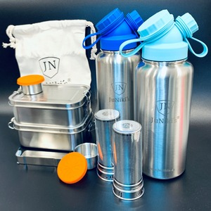 2er-Edelstahl-Spar-Set XL: Je 2 x JuNiki´s® Lunchbox + Trinkflasche isoliert 1 Liter + Teefilter - JN JuNiki's