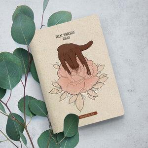 "Nachhaltiges Notizbuch A5 aus Graspapier - Tara ""Treat yourself right"" - Matabooks"