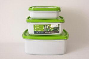 Frischhalteboxen Set 2,5l, 1,25l und 0,7l - greenline