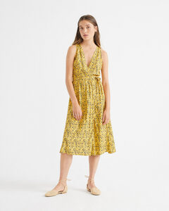 Ecovero Kleid - Multiflowers mustard Amapola  - thinking mu