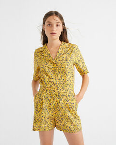 Jumpsuit - Multiflowers Mustard Jade - aus Bio-Baumwolle&Tencel - thinking mu