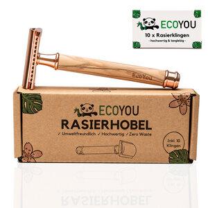 Rasierhobel aus Olivenholz - Rose - inkl. 10 Rasierklingen - Rasierer Nassrasierer - EcoYou