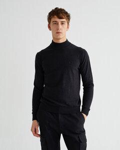 Rollkragen Pullover aus Kaschmir und Bio Baumwolle - Martin Sweater - Schwarz - thinking mu