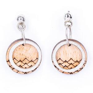 Beach braune Ohrringe aus recyceltem Holz - Paguro Upcycle