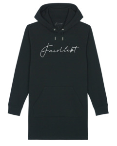 Hoodiekleid aus reiner Bio-Baumwolle, schwarz, Fairliebt Logo - Fairliebt