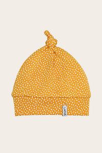 Bio Baby Mütze mit Knoten und Punkten in gelb - Kim - Lana naturalwear