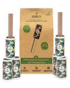 Öko Fusselrolle 6er-Set [PLASTIKFREI] - Starker Öko-Klebstoff - 100% Recyclingkarton - Heldengrün