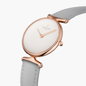 Armbanduhr Unika Roségold   Weißes Ziffernblatt - Italienisches Lederarmband - Nordgreen Copenhagen