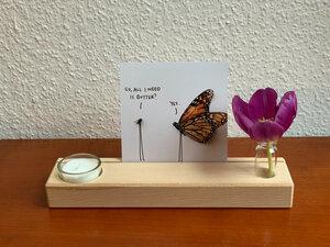 Kartenhalter mit Teelicht und Vase - b.y.r.d.