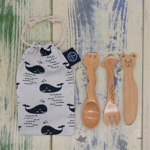 Bambus Kinder Besteck mit Stofftasche - Oceantale