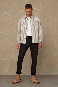 Hemd aus Bio Baumwolle - Juntoku Beige Stripe - Beige - Kings Of Indigo