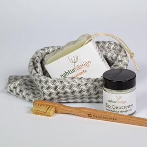 Naturkosmetik Starterset, Leinen-Waschhandschuh, Haarseife, Bio-Deocreme, Holzzahnbürste - nahtur-design