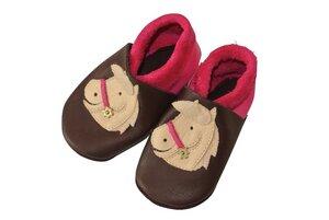 Baby Krabbelschuhe Polly braun/pink ökologisch - Pololo