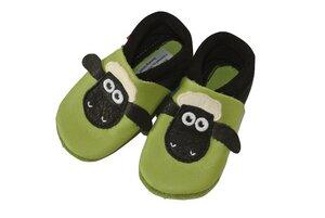 Baby Krabbelschuhe Shaun das Schaf grün/schwarz ökologisch - Pololo