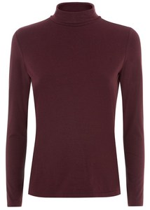 SIMPLE ROLLNECK TOP BORDEAUX - People Tree