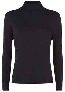 SIMPLE ROLLNECK TOP BLACK - People Tree