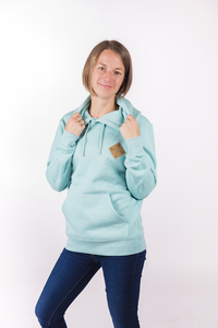 "Damen Kapuzenhoody ""ELKapuze"" in mid heather green - ecolodge fashion"