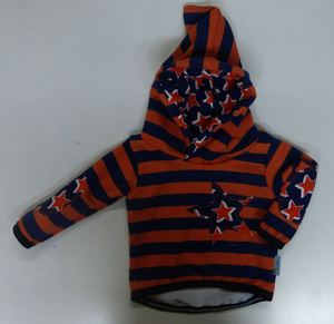 Kinder-/Baby-Kapuzenpulli Sweat Stripes and Stars blau-orange - Omilich