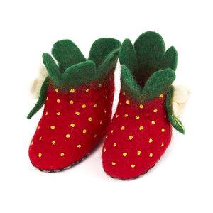 Hausschuhe Erdbeere handgefilzt für Babies und Kinder - short'n'pietz