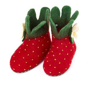 Hausschuhe Erdbeere handgefilzt für Erwachsene - short'n'pietz