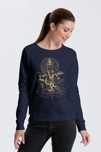 Bio Damen-Sweatshirt Ganesha - Peaces.bio - handbedruckte Biokleidung