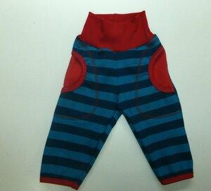 Kinder-/Baby-Mitwachshose mit Taschen Sweat Stripes and Stars blau-petrol - Omilich