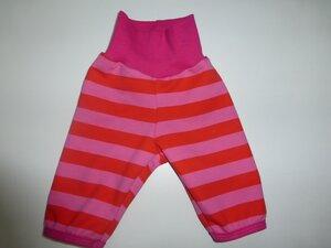 Kinder-/Baby-Mitwachshose Sweat Stripes pink-orangerot - Omilich