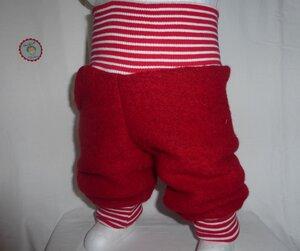 Kinder-/Baby-Mitwachshose aus roter Wollwalk/Kochwolle - Omilich