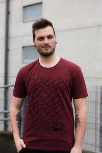 Herren T-Shirt mit Wellen Ahoi 3.0 aus Biobaumwolle, Made in Portugal ILP06 - sable red - ilovemixtapes