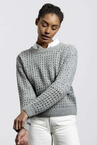 Waterfront Sweater - Light Grey - durchbrochener Ajourstich - Circular Pullover - Loop.a life