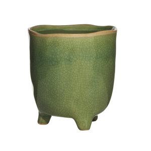 Blumentopf grün Keramik rund - Mitienda Shop