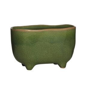 Blumentopf grün Keramik oval - Mitienda Shop
