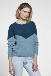 Chevron Sweater - Petrol/Seagreen - Rundhalsausschnitt - nachhaltiger Pullover - Loop.a life