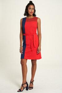 Jersey Kleid aus Bio-Baumwolle mit Block-Design in Rot und Grün - TRANQUILLO