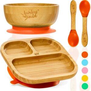 Geschirr Set für Babys & Kleinkinder - Kindergeschirr Löffel Teller Schüssel - Bambuswald