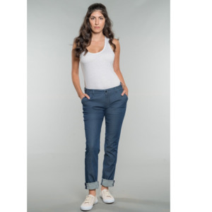 Business Chino LINDA mit Bundfalte LIGHTDENIM - Feuervogl