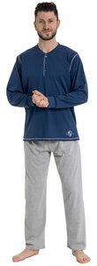 Herren Pyjama lang mit Seitentaschen, Single Jersey, reine Bio Baumwolle, GOTS zertifiziert, Made in Europe - Haasis Bodywear