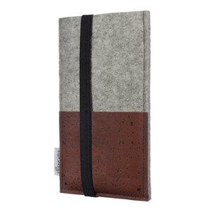 Handyhülle SINTRA braun für Samsung Galaxy M-Serie - 100% Wollfilz - hellgrau - Schutz Tasche Kork - flat.design