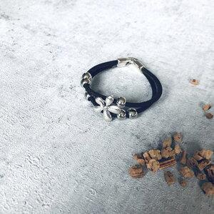 Kork Armband Silberblüte und bunten Korkband - Living in Kork