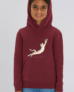 Flauschiger Kinderhoodie /Animals are friends - Cat stretching - Kultgut