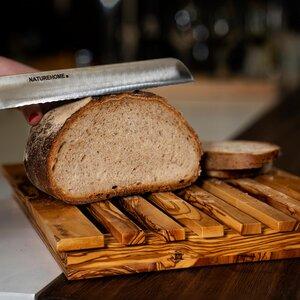NATUREHOME Olivenholz Brot-Schneidebrett mit Krümelfach verschiedene Größen - NATUREHOME
