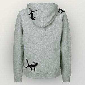 """""""Geckos"""" Männer Zip-HOODY aus reiner Biobaumwolle (kbA) - HANDGEDRUCKT"""
