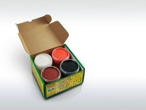Fingerfarben 4er Set, orange braun weiß schwarz, von Ökonorm 79604 - Ökonorm