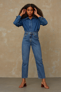 Mom Jeans aus Recycling und Bio Baumwolle - Caroline - Eco Xavier Blue Marble - Kings Of Indigo