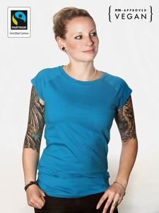 Fairtrademerch Ladies' Organic Raglan Tee (bright blue) - Fairtrademerch